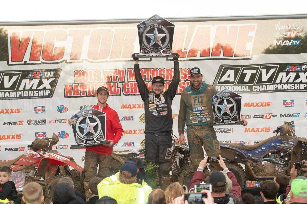 Thomas Brown (center), Joel Hetrick (left) and Chad Wienen (right) rounded out the top three overall at the previous round in Texas.