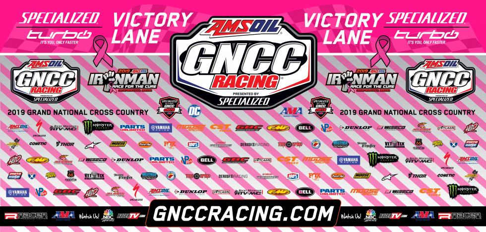 The Ironman GNCC pink backdrop will be auctioned off Saturday evening.